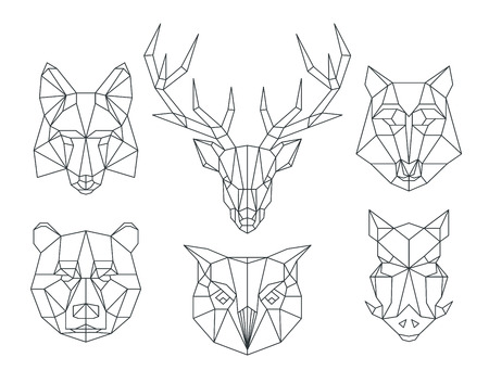Photo pour Low poly animals heads. Triangular thin line animals vector set. Animal geometric head, icon animal polygon, polygonal animal tattoo illustration - image libre de droit