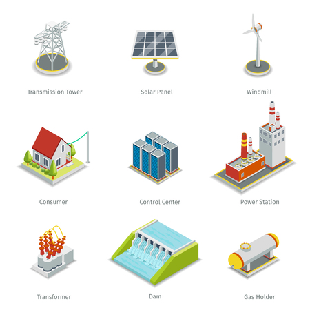 Illustration pour Smart grid elements. Power smart grid items vector set. Energy and electricity, transmission tower, solar panel, windmill and consumer house, control centre, power station illustration - image libre de droit