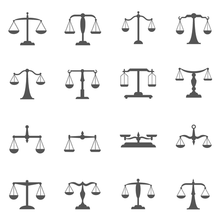 Illustration for Vector scales, balance icons. Scale symbol, scale weight, scale measurement, equal scale illustration - Royalty Free Image