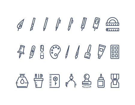 Illustration pour Drawing and writing tools. Line vector icons set. Tool drawing, stationery drawing, brush drawing equipment illustration - image libre de droit