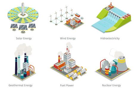 Illustration pour Power plant icons. Electricity generation plants and sources. Electricity energy, hydroelectricity energy, geothermal energy, solar and wind energy. Vector illustration - image libre de droit