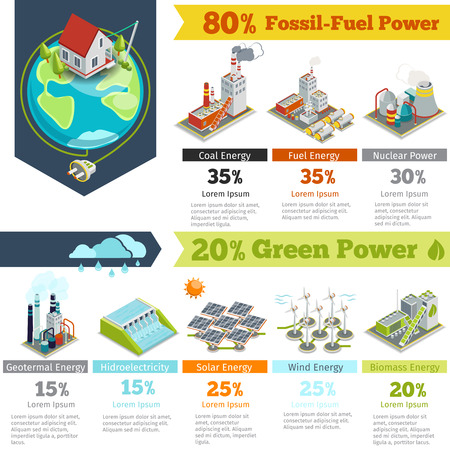 Fuel power and renewable energy generation infographics. Power generation infographic, electricity energy power generation, plant renewable power generation. Vector illustration