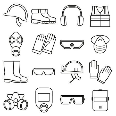 Illustration pour Linear job safety equipment vector icons set. Equipment safety, helmet safety, industry safety illustration - image libre de droit