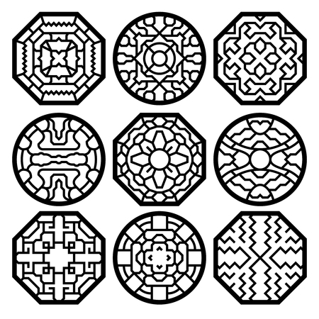 Illustration for Chinese, korean traditional vector pattern. Chinese traditional pattern, korean pattern, oriental frame pattern element illustration - Royalty Free Image