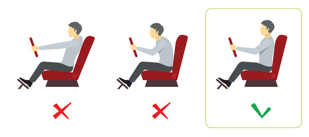 Correct spine posture for driver. Spine driver incorrect, right spine driver, position good spine driver. Vector illustration infographics