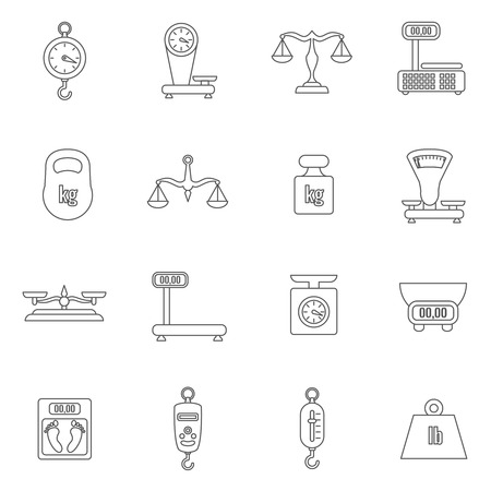 Linear scales and weight vector icons set  Scale digital