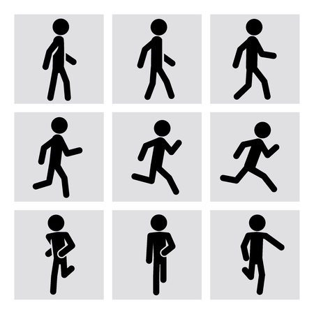 Ilustración de Walking and running people vector icons. Walking animation, runner sport, man running, fitness walking, running activity, jogging walking, running training illustration - Imagen libre de derechos