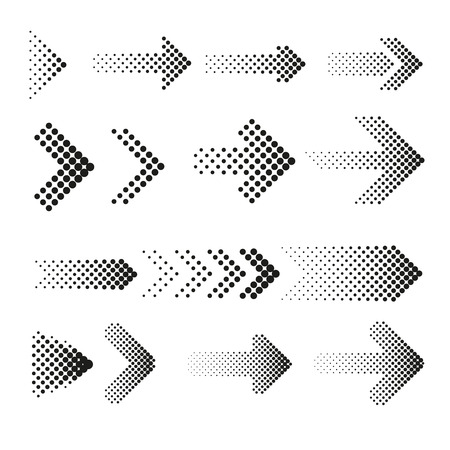 Illustration pour Dotted halftone arrows vector set. Arrow dot, arrow halftone, web arrow pattern illustration - image libre de droit
