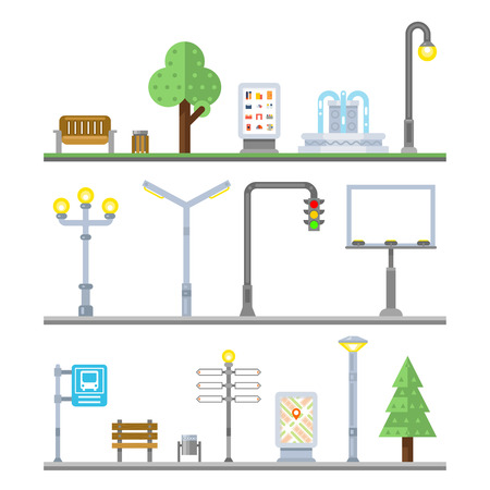 Illustration pour Urban landscape icons. Traffic lights and lanterns, bench and fountain street elements. Icon urban element, billboard urban, lamppost urban, signboard and irban advertisement, vector illustration - image libre de droit
