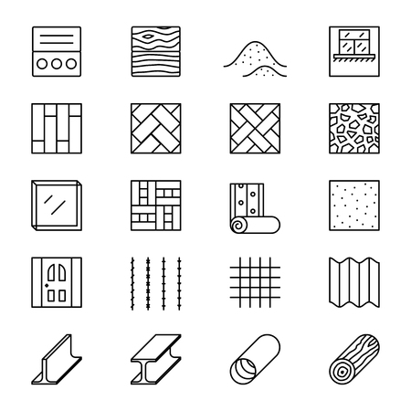 Illustration pour Building materials line vector icons. Building construction materials, element pictogram material, object materials linear illustration - image libre de droit