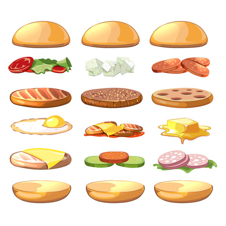Burgers ingredients. Vector fastfood set in cartoon style. Burger food, hamburger ingredient, sandwich ingredient, cheeseburger ingredient illustration