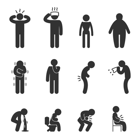 Illustration pour Symptoms of people disease icons. Sick and ill, flu and cold. Vector pictograms - image libre de droit