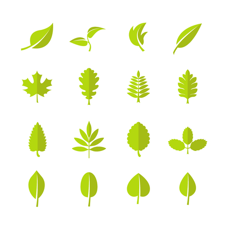 Illustration for Green leaves vector icons. Leaf for nature eco organic - Royalty Free Image