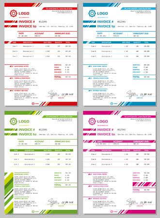 Photo pour Invoice templates set. Payment form for business - image libre de droit