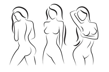 Ilustración de woman body vector silhouette. Beautiful sexy woman body figure drawings - Imagen libre de derechos