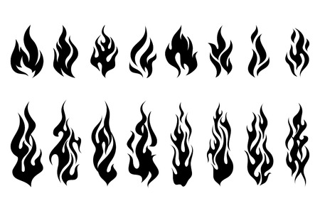 Illustration pour Fire tattoo vector. Fire flames tattoo set. Illustration monochrome flame - image libre de droit