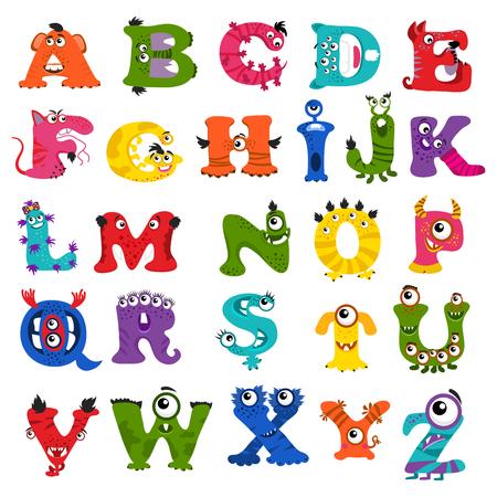 Illustration pour Funny vector monster alphabet for kids. Monster letter character and illustration abc monster - image libre de droit