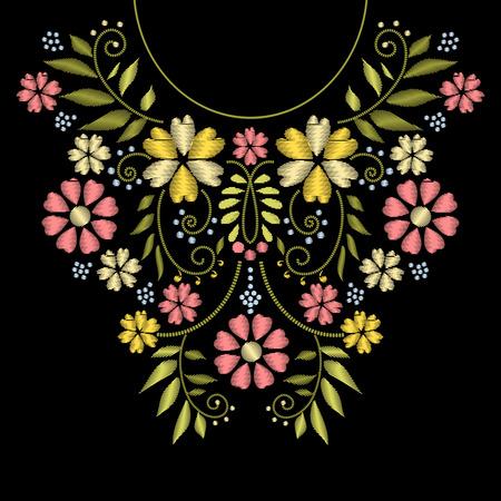 Illustration pour Neck line embroidery. neck embroidery design. Ornament with flower pattern for neckline illustration - image libre de droit