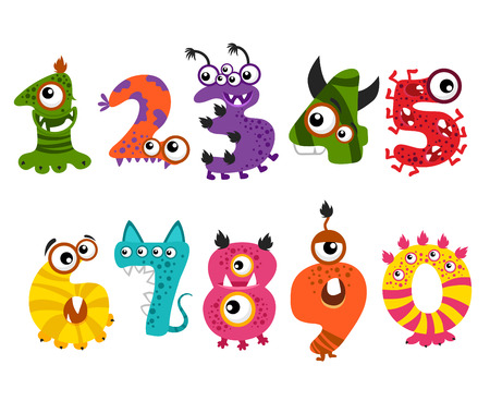 Illustration pour Funny cute monster numbers for halloween party event . Color numbers for mathematics and illustration number minsters for education - image libre de droit