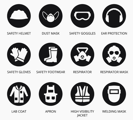Illustration pour Industry health and safety protection equipment icons. set of equipment for protection health, illustration equipment for industry construction - image libre de droit