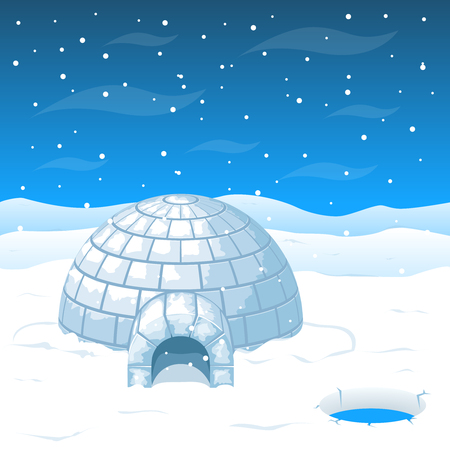 Eskimo cold house from ice blocks in Antarctica illustration. Dome house for winter weather and north house from cold