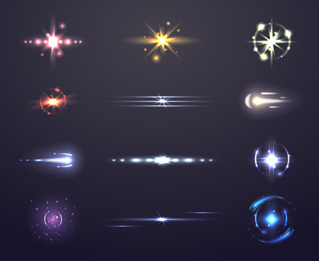 Lens flare and glowing, set of light effects, vector illustration