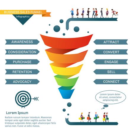 Vektor für Business sales funnel vector infographics. Strategy business marketing, illustration of colored business funnel - Lizenzfreies Bild