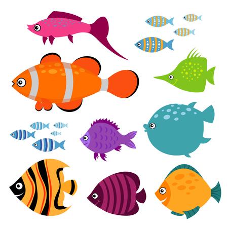 Ilustración de Cute fish set. Smiling swimming aquarium fishes vector illustration. Exotic color fish for aquarium illustration - Imagen libre de derechos