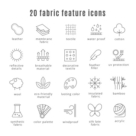 Illustration for Fabric feature line icons. Comfort wear and lightweight, synthetic clothes and wool waterproof clothing signs. Symbol for clothes set. - Royalty Free Image