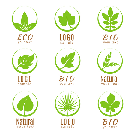 Ilustración de Nature logo set or ecology labels with green leaves isolated on white background. Logo fresh flora, badge and label with green leaf. Vector illustration - Imagen libre de derechos