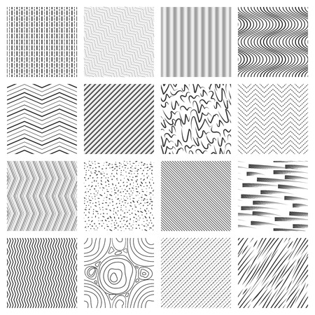 Ilustración de Thin line pattern set. Crossing and slanted, wavy and striped lines patterns. Illustration of geometric mosaic seamless background vector - Imagen libre de derechos