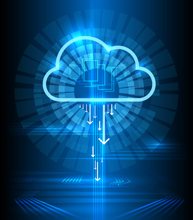 Illustration for Cloud technology modern blue vector background. Clouds computing communication graphics concept. Connection digital networking illustration - Royalty Free Image