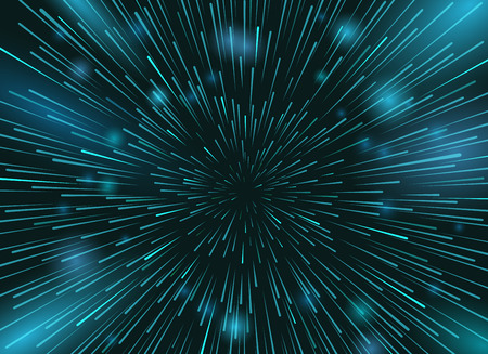 Illustration pour Speed stars in space vector background. Star lights at night sky action wallpaper - image libre de droit