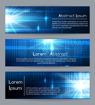Technology web banners or abstract website tech digital and medical banner templates vector illustration
