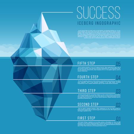 Illustration pour Iceberg with blue ocean water vector business infographic - image libre de droit
