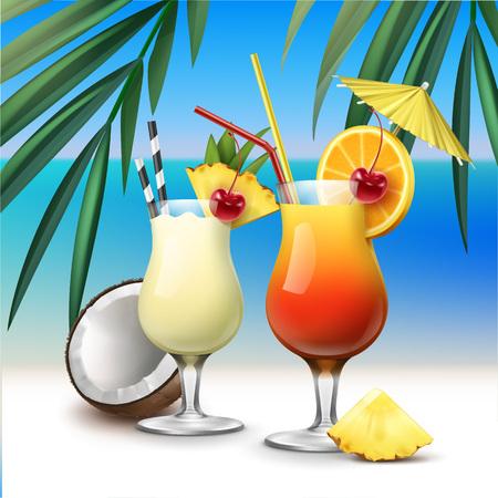 Vektor für Tropical cocktails Tequila Sunrise and Pina Colada - Lizenzfreies Bild