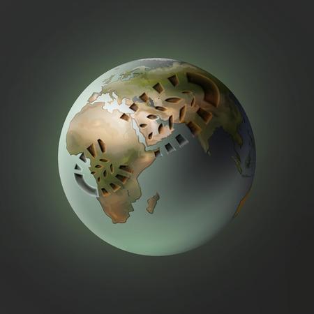 Ilustración de Planet with footprint - Imagen libre de derechos