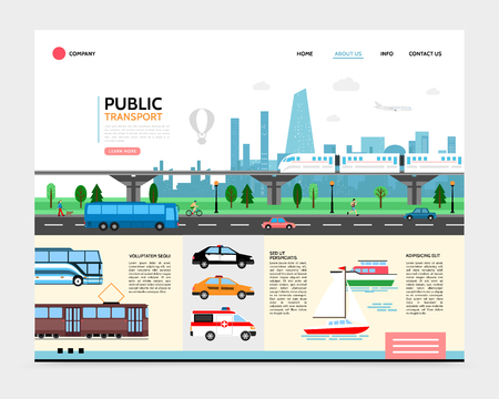 Illustration pour Flat city transport landing page template with subway tram bus boat police ambulance taxi cars urban road traffic vector illustration - image libre de droit