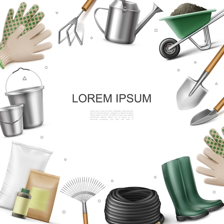 Illustration for Realistic garden equipment template with gloves boots fertilizer bags bottle buckets hose shovel rake trowel watering can hoe wheelbarrow of dirt vector illustration - Royalty Free Image
