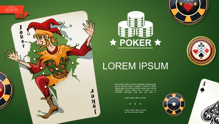 Realistic poker template with joker and ace of spades playing cards and chips on green casino table background vector illustration