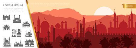 Illustration pour Flat arab city silhouette concept with muslim cityscape islamic buildings and mosques vector illustration - image libre de droit