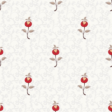 Illustration for Seamless vector floral background. The motives of the paintings of ancient Indian fabrics. Tree of Life collection. - Royalty Free Image