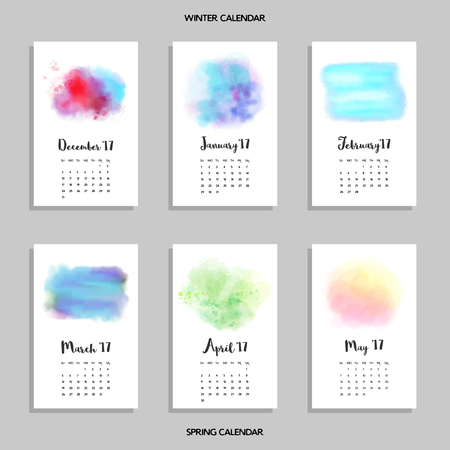 Vector set of calendars for winter and spring. Watercolor bright patterns. Realistic shadows.