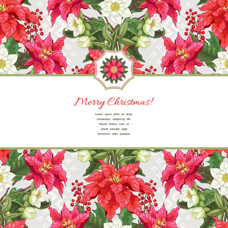 Illustration pour Vector card with ribbon for your text. Lines of poinsettia flowers, berries and hellebore. Scandinavian ornament on backdrop. Christmas collection. - image libre de droit