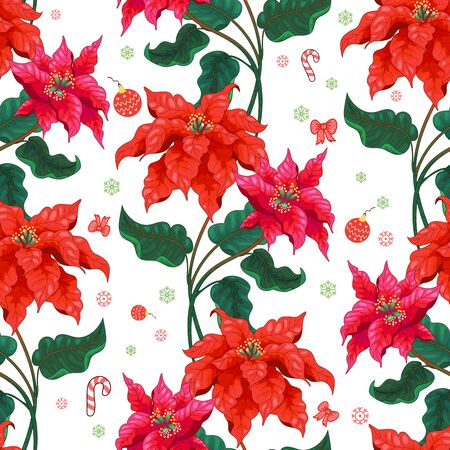 Illustration pour Seamless background with winter pattern and Christmas Star flowers - image libre de droit