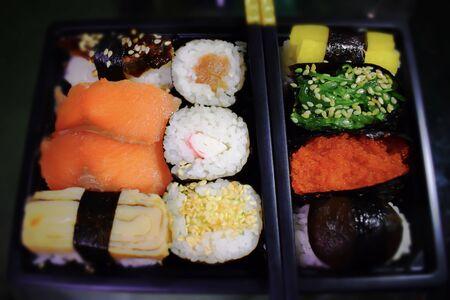 Japanese sushi, seaweed, rice, sea urchin caviar, red fish