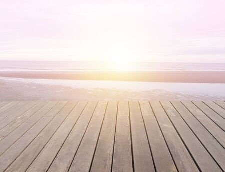 wood floor with sun shine on beach