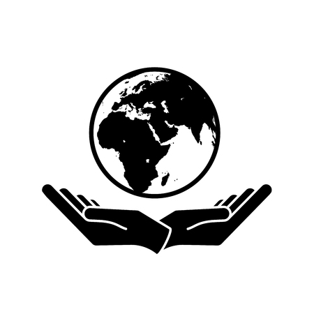 Illustration pour Two hands holding planet earth Environmental icon vector - image libre de droit