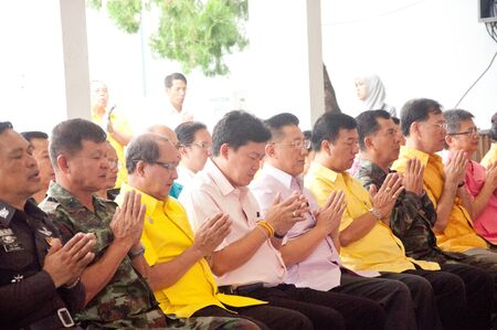 YALA, THAILAND - DECEMBER 5: Unidentified Yala Government officials chant in a blessing ceremony for the H.M.K. Bhumibol Adulyadej Birthday ceremony on Dec 5, 2011 at Yala Youth Center, Thailand