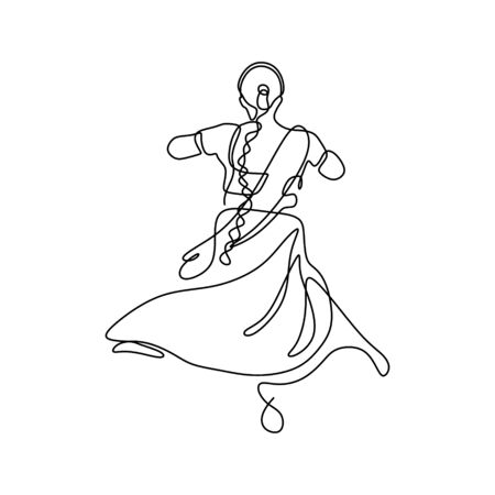 Illustration pour One line drawing of dancing girl minimalism design of indian woman dance traditional simple design - image libre de droit